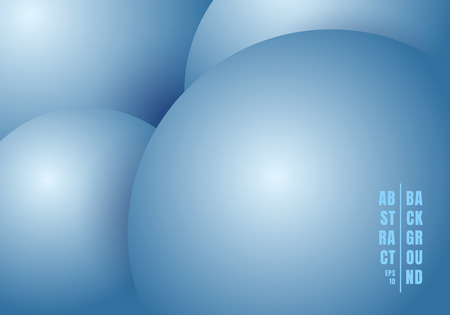Abstract 3D realistic liquid or fluid circles blue color beautiful background. Vector illustration