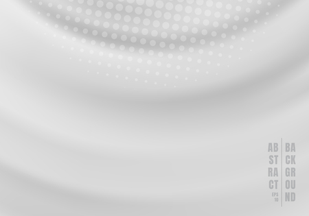 Abstract liquid rotate swirling rippled gray background with radial halftone. Vector illustration