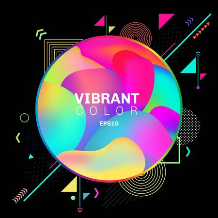 Abstract colorful geometric pattern design on black background with circle label 3D liquid or fluid shapes gradient elements vibrant color. You can use for modern brochure design, cover, template, flyer, leaflet, poster, banner web, etc. Vector illustration