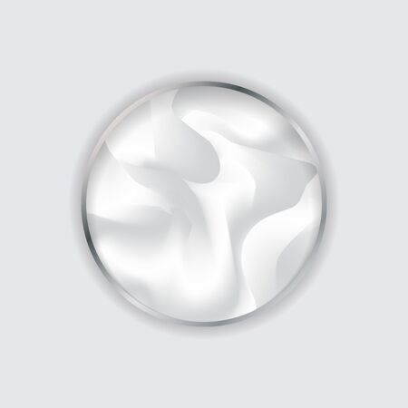 Silver circle frame in fluid white background and texture. Framework liquid. You can use for cover template design, brochure, poster, banner web, print, presentation, etc. Vector illustration