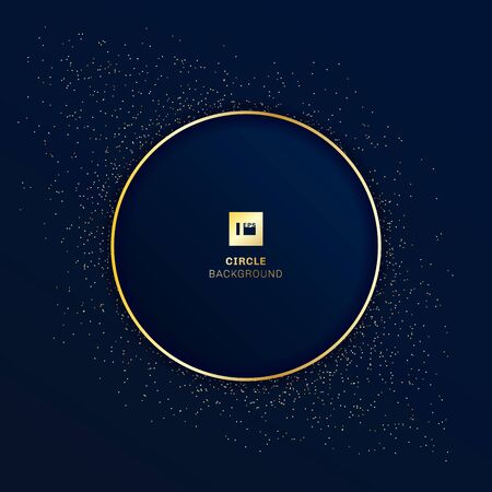 Gold round badge on dark blue background with golden glitter. Vector illustration 版權商用圖片 - 131549211