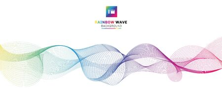 Abstract rainbow wave lines flowing on white background. Colorful color motion smooth design elements in concept sound, music, science, technology. Vector illustration