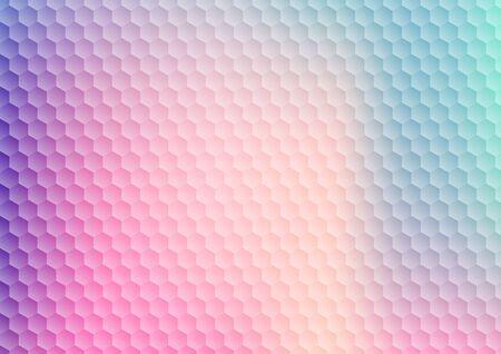 Fondo e struttura del modello di esagono di colore vibrante di gradiente astratto. Favo geometrico colorato moderno. Illustrazione vettoriale