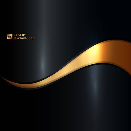 Abstract glowing gold wave on black background luxury style. Vector illustration Vetores
