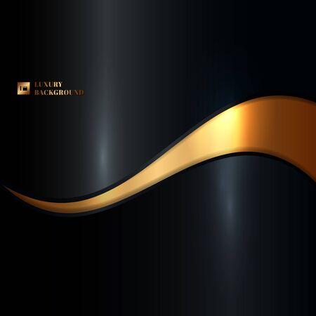 Onda de oro que brilla intensamente abstracta en estilo de lujo del fondo negro. Ilustración vectorial Ilustración de vector