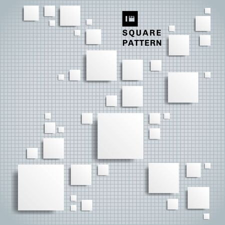 Abstract 3D realistic geometric shape white paper square pattern with shadow on grid background and texture. Vector illustration