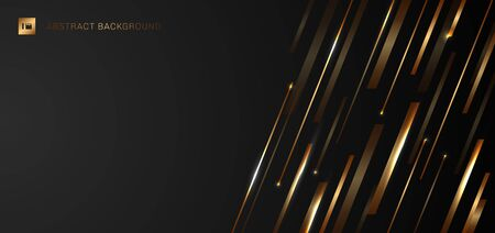 Abstract modern luxury template banner web design golden shiny diagonal stripe lines with light on black background. Vector illustration