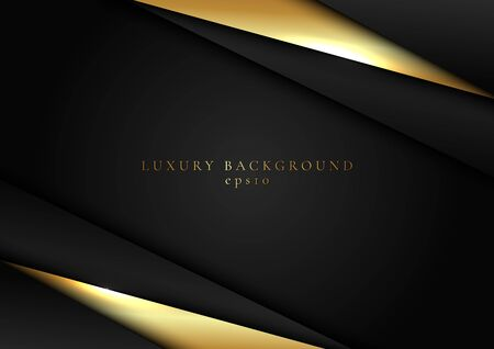 Abstract elegant template black and gold triangle overlapping dimension on dark background luxury style. Vector illustration Vektorgrafik