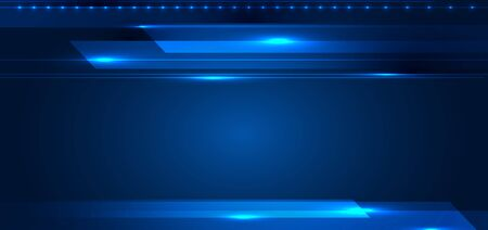 Abstract technology digital futuristic concept stripes lines with glowing light rays speed motion on dark blue background. Science energy. Vector illustration