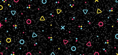 Abstract colorful geometric hipster pattern elements on black mosaic background and texture retro 80's. Vector illustration Иллюстрация