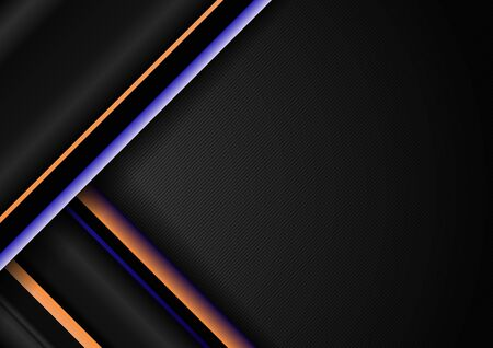 Abstract stripe diagonal geometric lines pattern blue and yellow on black background with space for your text. Vector illustration