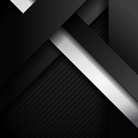 Abstract black and white stripes diagonal overlapping layer paper on dark background and texture with space for your text. Vector Illustration