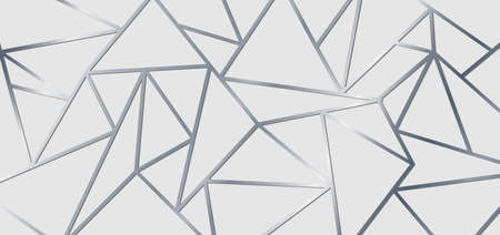 Abstract silver metallic join lines on white background. Geometric triangle gradient shape pattern. Luxury style. Vector illustration