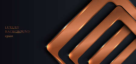 Abstract banner web template elegant geometric rounded square shiny metallic copper on black background luxury style. You can use for vip invitation card or flyer, poster, banner web, brochure, etc. Vector illustration