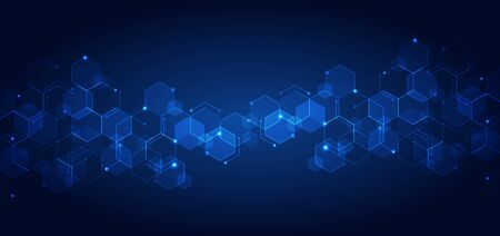 Abstract technology connect concept blue geometric hexagons pattern with glowing light on dark background. Medical, tech or science design. Vector illustration