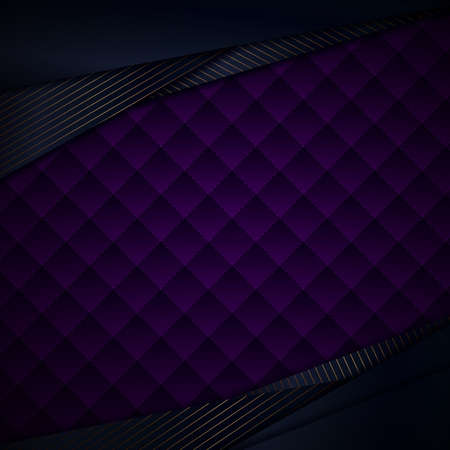 Abstract template blue triangles overlap with gold lines on purple geometric squares pattern texture. Luxury style. Vector illustration
