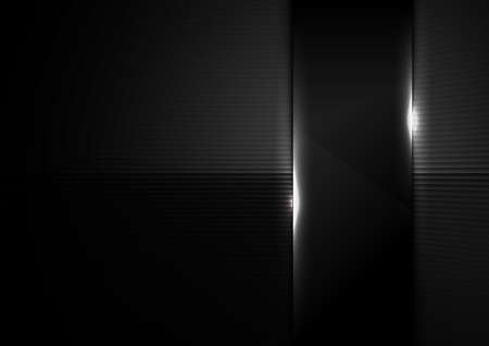 Abstract background black glass panel glossy with lighting. Vector illustration