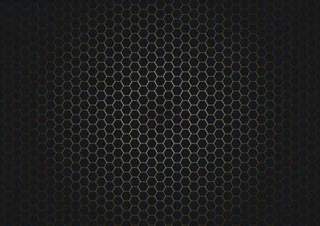 Abstract black hexagon pattern on glowing gold background and texture. Vector illustration