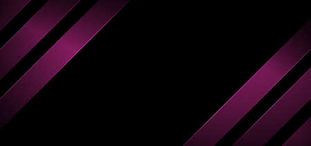 Abstract banner web design stripes geometric diagonal lines pink color with lighting on black background. Vector illustration