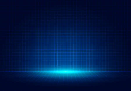 Abstract blue grid perspective design background with lighting. High technology lines landscape connect of future. Vector illustration Vektorgrafik