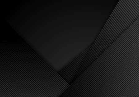 Abstract black stripes diagonal with lines layered on dark background and texture. Vector illustration Vettoriali
