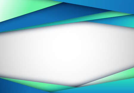 Abstract elegant modern template diagonal stripes on white background blue green gradient color paper cut style. Vector illustration Illustration