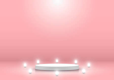 3D realistic white cylinder podium pedestal platform display product minimal scene background with neon sphere ball for cosmetic beauty. You can use for presentation, concert, exhibition, etc. Vector illustration Illustration