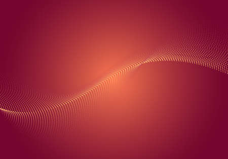 Abstract dynamic wave dots array particles flowing on red glowing background. Vector illustration Illustration