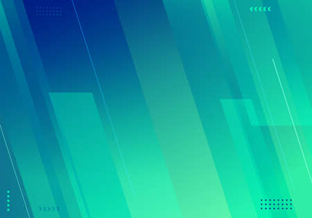 Abstract background blue and green gradient diagonal stripes with geometric elements technology style. Vector illustration