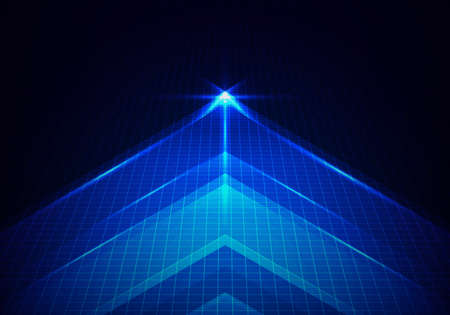 Abstract technology glowing blue arrow forward with lighting and line grid on blue background. Vector illustration Illustration