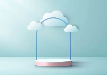 3D realistic pink podium pedestal cylinder with cloud paper cut style on green mint color stage background. You can use for award ceremony, product presentation, etc. Vector illustration Illustration