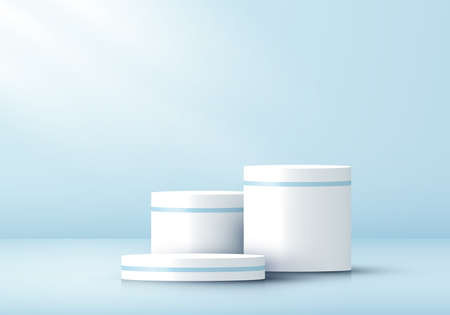 3D realistic white cylinder pedestal on blue studio room background. Geometric platform design. You can use for product display, presentation cosmetic, etc. Vector illustration
