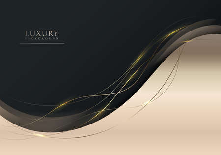 Abstract elegant shiny golden gradient wave shape with gold wave line and lighting on black background luxury style. Vector illustration