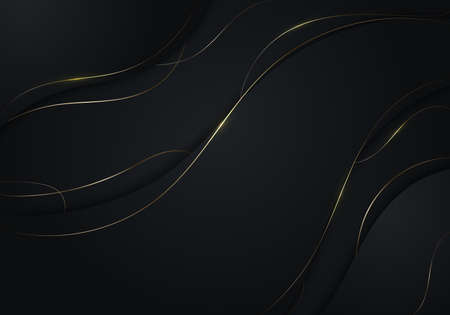 Abstract black wave shape with gold thread lines on dark background luxury style. Vector illustration