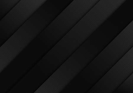 Abstract black shiny diagonal stripes on dark background grid texture. Vector illustration