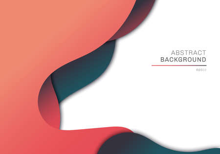 Abstract 3D dimension liquid shape overlapping design on white background template. Vector illustration Illustration