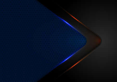 Abstract black arrow layer with blue and red light on blue background with haxagon pattern mesh texture technology concept. Vector illustration