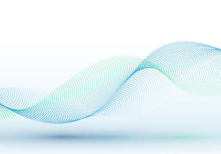 Abstract blue dots particles wave line on white background. Vector illustration