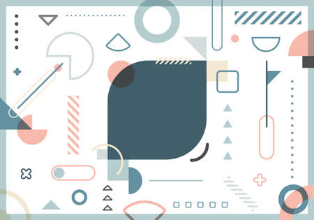 Abstract trendy elements simple geometric forms pattern pastel color on white background. Vector illustration