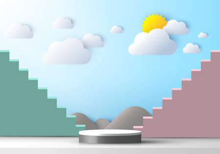 3D realistic pedestal stairs display with nature scene mountain cloud and sun paper cut style on blue sky background. Design for product presentation, mockup, etc. Vector illustration