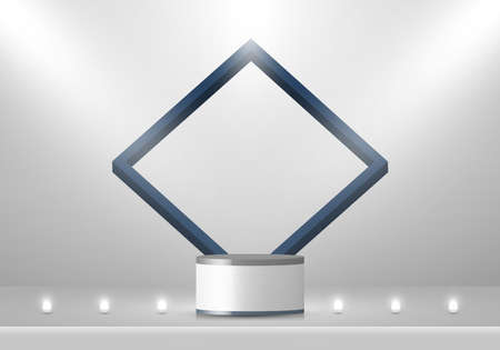3D stage layered white and gray podium pedestal with blue square frame backdrop decoration with neon led light minimal scene. You can use for product display. Vector illustration