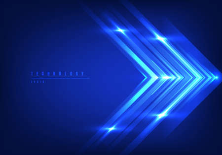 Abstract digital technology concept blue arrow line speed motion movement fast of data in the light on dark blue background. Vector illustration Illustration