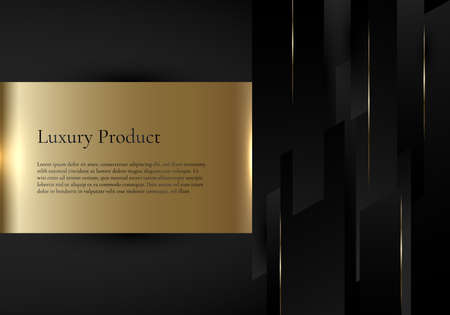 Abstract template background black geometric stripes with golden line and gold label space for your text. Luxury style. Vector illustration Illustration
