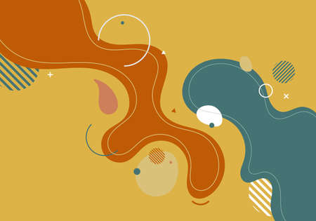 Abstract modern template blue and orange organic dynamic shapes elements compositions of colored spots and lines on yellow background. Vector illustration