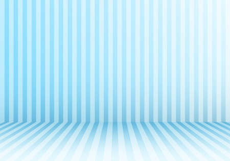 3D studio room abstract vertical lines striped candy blue perspective floor and background. Vector illustration Illustration
