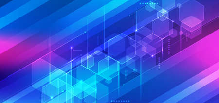 Abstract 3D technology digital futuristic concept blue geometric hexagon with lines on stripes background. You can use for banner web design, brochure template, print ad, etc. Vector illustration Illustration