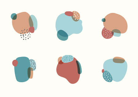 Set of label element abstract organic shapes with dot pattern in minimal trendy style isolated on white background. Vector illustration