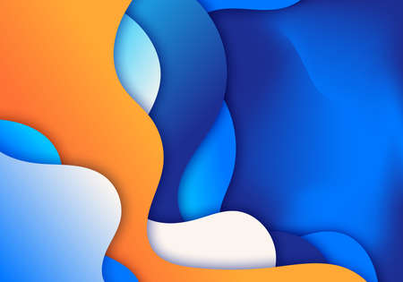 Abstract 3D blue wave or liquid gradient shapes background paper art style. Vector illustration Illustration
