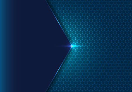 Abstract blue geometric hexagon with dot pattern and light ing effect technology concept background. Honeycomb metal texture steel backdrop. Vector illustration Illustration