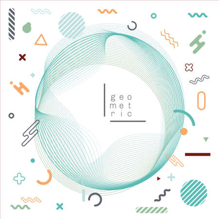 Abstract wavy circle lines blend with geometric elements on white background. Vector graphic illustration